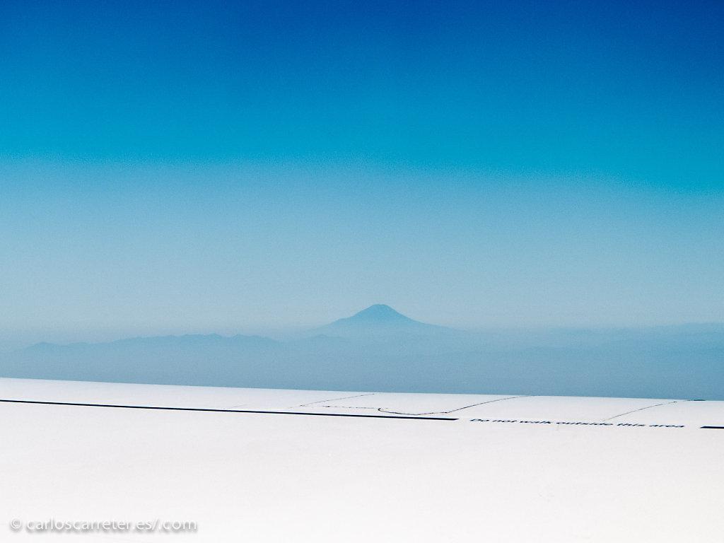 Vista del Monte Fuji desde un 747 con destino Fráncfort